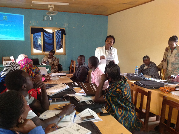 Health workers at a training session