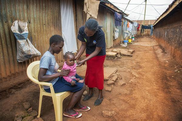 A child receiving immunization